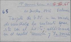 """Tarjeta postal de Guillermo Fernández-Shaw a Cecilia Iturralde, diciéndole lo contento que está y lo bien que le tratan, alternando en cartel """"La canción del olvido"""" y """"La sonata de Grieg""""."""
