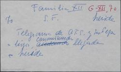 Telegrama de Guillermo Fernández-Shaw y su mujer María Josefa Baldasano a sus hijos comunicando su llegada a Lérida sin contratiempos.