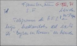"""Telegrama de Guillermo Fernández-Shaw y su mujer María Josefa Baldasano a sus hijos contando el éxito de """"Byron en Venecia"""" en Lérida."""