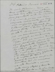 """Carta de Amadeo Vives a Federico Romero, preguntándole si sabe que una compañía lleva en el repertorio """"La villana"""" para estrenarla en Buenos Aires. Comenta que sigue trabajando en """"Los Flamencos""""."""