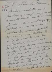 """Carta de Amadeo Vives a Guillermo Fernández-Shaw, hablando de su trabajo para """"Talismán"""" y de algunos ajustes en números de la obra."""