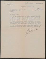 """Carta de José Vives a Guillermo Fernández-Shaw, diciéndole que hay posibilidades de que """"Doña Francisquita"""" sea llevada al cine por la Paramount Pictures."""