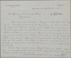 Carta de José Vives a Guillermo Fernández-Shaw y Federico Romero, deseándoles suerte en la inauguración del Teatro de la Zarzuela, recordando los éxitos de su padre en dicho teatro.