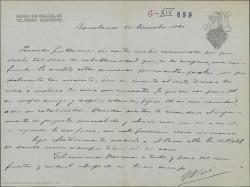 Carta de José Vives a Guillermo Fernández-Shaw, aceptando el dinero que le manda y exponiéndole su deseo de llegar a ser su colaborador en algún proyecto teatral.