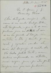 """Carta de Jesús Guridi a Guillermo Fernández-Shaw y Federico Romero dándoles las gracias por mandarle el """"bosquejo"""" de la nueva obra."""