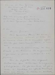 Carta de Guillermo Fernández-Shaw a Jesús Guridi, comentando y haciendo pequeñas observaciones de detalles a modificar en el libro de una nueva obra de éste.