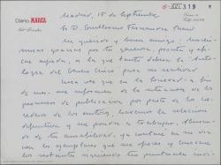 """Carta de Antonio Valencia a Guillermo Fernández-Shaw, dándole las gracias por la ayuda prestada para hacer """"La Antología del Género Chico""""."""
