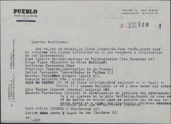 """Carta de Luis Ardila a Guillermo Fernández-Shaw, mandándole la lista prometida de la gente que trabajó en """"La Época""""."""