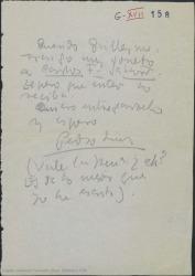 Nota de Pedro Luis de Gálvez a Guillermo Fernández-Shaw acompañando a un soneto suyo dedicado a éste.