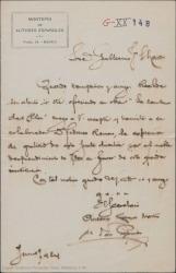 """Carta de Antonio Ramos Martín, en nombre del Montepío de Autores Españoles a Guillermo Fernández-Shaw, agradeciéndole el ofrecimiento de la obra """"La sombra del Pilar"""" a dicha institución."""