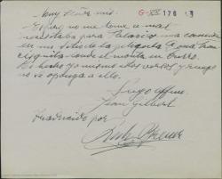 """Carta de Jean Gilbert pidiéndole a Guillermo Fernández-Shaw una canción para colocar en un fragmento de la película """"Doña Francisquita""""."""