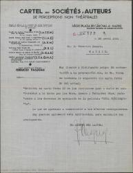 """Carta de Ferruccio Pasquali a Federico Romero referente a los derechos de ejecución de la película """"Doña Francisquita""""."""