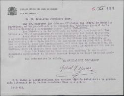 Carta de la Cámara Oficial del Libro de Madrid a Guillermo Fernández-Shaw, pidiendo envíe una relación de las obras que ha publicado tanto originales como traducciones así como detalles de la producción literaria de su padre, Carlos Fernández Shaw.