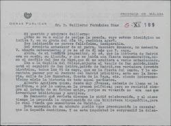 Carta de Luis Cambronero a Guillermo Fernández-Shaw, dándole datos para un trabajo sobre Carlos Fernández Shaw.