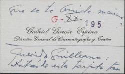 Tarjeta de visita de Gabriel García Espina a Guillermo Fernández-Shaw, uniéndose al homenaje escurialense.