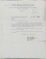 Carta de Roberto Carpio a Guillermo Fernández-Shaw, agradeciéndole su gestión y poniéndose en marcha para el tema del ballet en la televisión.