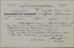 """Carta de Gabino Páez a Guillermo Fernández-Shaw, remitiéndole unos ejemplares del """"Poema del Pinar"""" de Carlos Fernández Shaw."""
