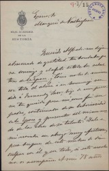 Carta de Juan Pérez de Guzmán al Marqués de Valdeiglesias, explicándole que no puede asistir a un homenaje a Guillermo Fernández-Shaw.