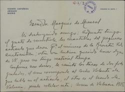 """Cartas de Vicente Castañeda al Marqués de Mirasol, remitiéndole un artículo sobre Valencia para ser publicado en la revista """"Vida aristocrática""""."""