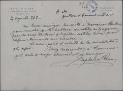 Carta de Natalio Rivas a Guillermo Fernández-Shaw, en relación con el tenor Gayarre y remitiendo una nota con una anécdota de éste.