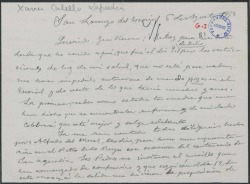 Carta de Xavier Cabello a Guillermo Fernández-Shaw sobre diversos temas.