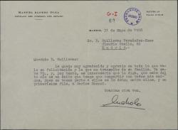 Carta de Manuel Alonso Olea a Guillermo Fernández-Shaw, agradeciendo la felicitación por su éxito.