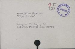 Tarjeta conteniendo el nombre y las señas de José Rizo Navarro, conocido como Pepe Romeu.