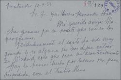 Tarjeta de Irene López Heredia a Guillermo Fernández-Shaw, agradeciéndole un soneto.