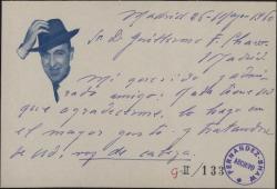 Tarjeta de José Alfayate a Guillermo Fernández-Shaw, contestando a su agradecimiento.