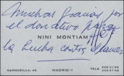 Tarjeta de visita de Nini Montian agradeciendo un donativo benéfico.