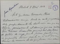 Carta de Juan Espantaleón a Guillermo Fernández-Shaw excusándose por no poder asistir a un homenaje a los hermanos Quintero.