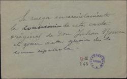 Carta de Julián Romea a Ventura de la Vega, hablándole de una enfermedad que le impide trabajar.