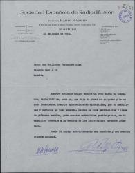 Carta Pedro Pablo Ayuso y Matilde Conesa a Guillermo Fernández-Shaw, dándole las gracias por carta con respecto a la participación de ambos en el homenaje a los hermanos Quintero.