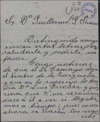 Carta de Luisa Espinosa a Guillermo Fernández-Shaw, pidiéndole que la recomiende para conseguir trabajo.