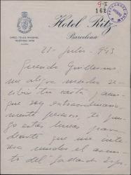 Carta de Juan de Orduña a Guillermo Fernández-Shaw, sobre asuntos teatrales.