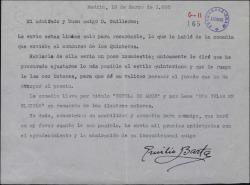 Carta de Emilio Barta a Guillermo Fernández-Shaw, pidiéndole se interese por una comedia suya que ha mandado a un concurso.