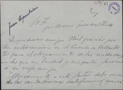 Carta de Juan Espantaleón a Guillermo Fernández-Shaw, agradeciendo su mediación para que le fuera otorgada una medalla.