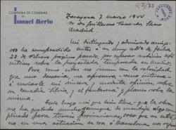 """Carta de Ismael Merlo a Guillermo Fernández-Shaw, aceptando, para representarle, su comedia """"Silvia y el fantasma""""."""