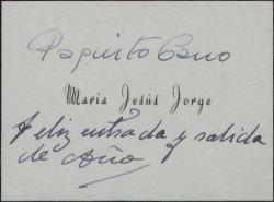 Tarjeta de visita de Paquito Cano y María Jesús Jorge, felicitando el Año Nuevo.