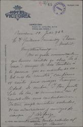 """Carta de José Reforzo a Guillermo Fernández-Shaw, acusando recibo de la obra """"La Severa""""."""