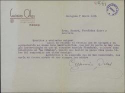 """Carta de Casimiro Ortas a Guillermo Fernández-Shaw, Federico Romero y Jacinto Guerrero, autorizando que cierto actor colabore en """"La Cibeles""""."""