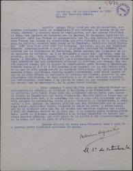 """Carta de Mariano Asquerino a Federico Romero tratando de cierto aplazamiento que éste le ha pedido y dando su opinión sobre la traducción de """"Miss Ba""""."""