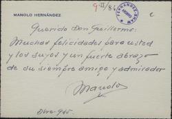Tarjeta de Manolo Hernández a Guillermo Fernández-Shaw, felicitándole.