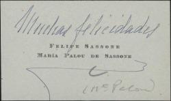 Tarjeta de visita de María Palau y Felipe Sassone, felicitando.