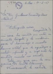 Carta de Ena Sedeño a Guillermo Fernández-Shaw lamentando no poder asistir a un homenaje a Benavente por estar de gira.