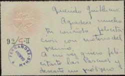 Tarjeta de Ana María Beruete Iriarte a Guillermo Fernández-Shaw agradeciéndole la felicitación por el premio recibido y deseándole Feliz Navidad.