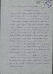 Carta de María Tellez a Guillermo Fernández-Shaw diciéndole que necesita trabajar, para que la tenga presernte en este sentido.