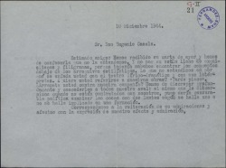 Borrador de una carta a Eugenio Casals contestando a una suya en la que critica el teatro lírico-dramático.