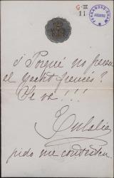 Nota de Eulalia de Borbón, haciendo una pregunta.