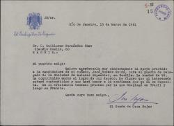 Carta del Conde de Casa Rojas a Guillermo Fernández-Shaw, agradeciendo el apoyo prestado a un pariente suyo.